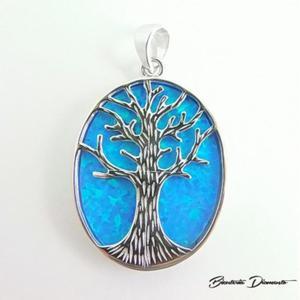 Drzewko szczęścia piękny wisiorek z opalem - 2840681052
