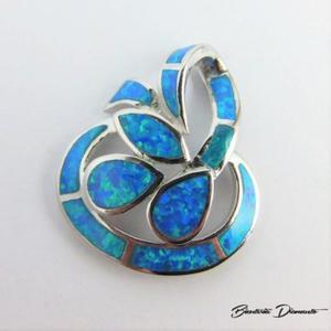 Wisiorek srebrny z niebieskim opalem - 2840681066