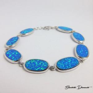 Bransoletka srebrna z opalem w owalnym kształcie - 2840681044