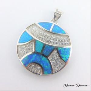 Wisiorek z cyrkoniami i niebieskim opalem - 2840681068