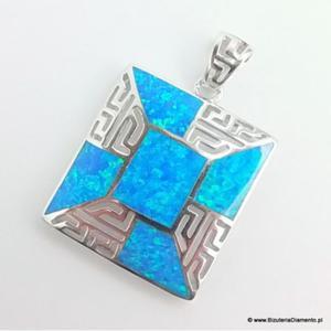 Kwadratowy wisiorek z greckim wzorem KO308 - 2841267935