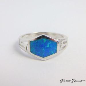Srebrny pierścionek z mieniącym opalem - 2841267946