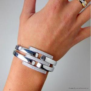 Srebrna bransoleta damska z cyrkoniami - 2843718687