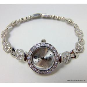Srebrny zegarek damski z cyrkoniami ZE1 - 2822078095