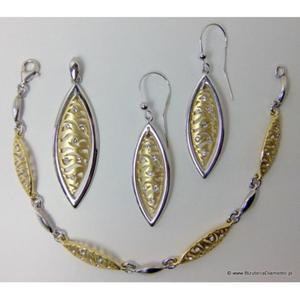 Biżuteria pozłacana. Srebrny komplet łezki KY57 - 2822077357