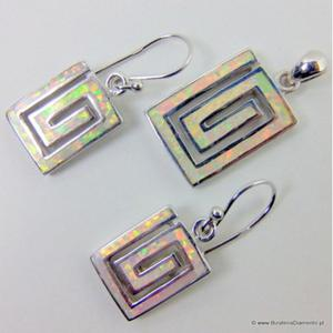 Kolczyki i wisiorek srebrny z opalem KO56 - 2822077590
