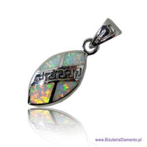 Jasny opal. Wisior KO71 z greckim wzorem - 2822077578