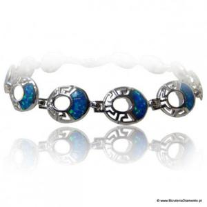 Bransoletka srebrna z niebieskim opalem KO74 - 2822077460