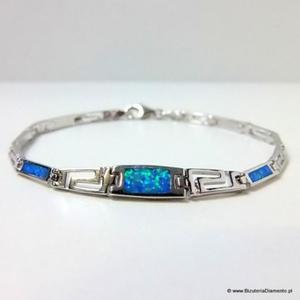 Bransoletka srebrna z opalem - grecki wz - 2822077463