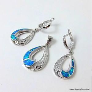Ażurowy komplet biżuterii z opalem - 2822077353