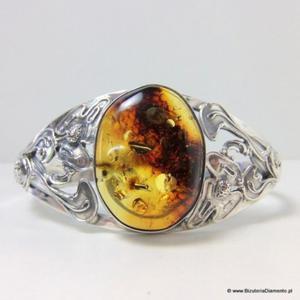 Srebrna bransoleta z naturalnym bursztynem B53 - 2822077928