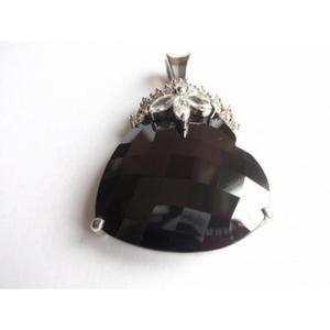 Wisior w kształcie serca. Duża czarna cyrkonia - 2822078134