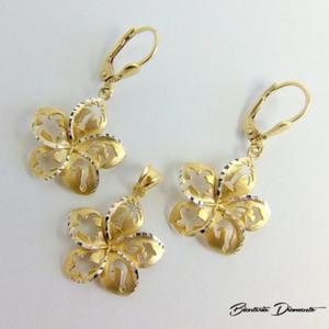 Biżuteria pozłacana kwiatki KY84 srebro 925 - 2822077356
