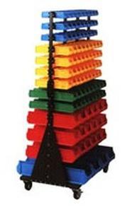 77157405 Regał dwustronny z pojemnikami plastikowymi, 206 pojemników (wymiary: 1765x1040x760 mm) - 2835637771