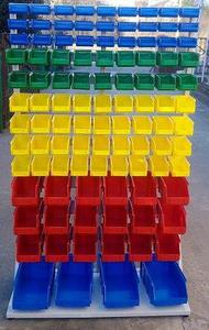 77157419 Regał z pojemnikami plastikowymi, 103 pojemniki (wymiary: 2000x1000x400 mm) - 2835637785