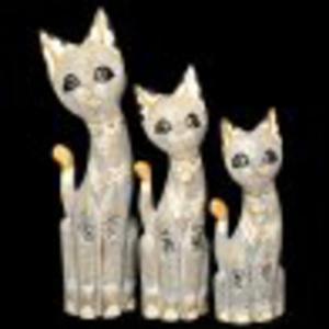 Trzy figurki dekoracyjne kotów koty - 2827759998