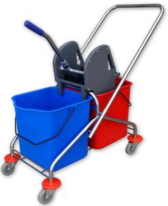 Wózek do sprzątania chromowany dwuwiadrowy 2x20 l z wyciskarką Wózki do sprzątania...