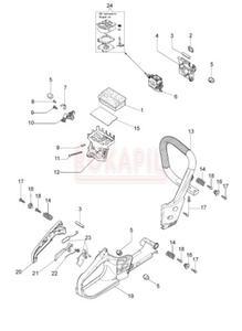 Uchwyt, cięgno, włącznik, dźwignia, amortyzator, filtr powietrza, podstawa fltra powietrza, gaźnik,...