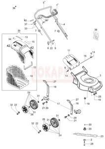 Części korpusu - nóż, piasta noża, kosz na trawę, linka hamulca, linka gazu , śruba, koło - kosiarki spalinowej Oleo- Mac G44PB Comfort Plus - schemat - 2890529550