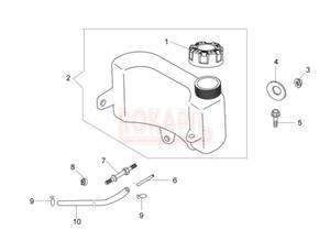 Zbiornik paliwa, korek paliwa, wąż paliwa, zacisk - kosiarki spalinowej Oleo- Mac G 44 PK ESSENTIAL (silnik K600- AUTOCHOKE)- schemat - 2890529675