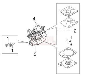 Gaźnik, zestaw naprawczy, pompka paliwa, śruba regulacyjna - Kosy spalinowej Oleo-Mac - BC 400T - schemat - 2890529711