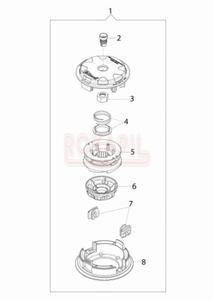 Głowica żyłkowa Load&Go 130mm - nakrętka, sprężyna, pokrywa - Kosy spalinowej Oleo-Mac- T 241T - schemat - 2890529718