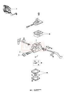 Gaźnik, zestaw naprawczy, pompka paliwa, śruba regulacyjna - Kosy spalinowej Oleo-Mac - BC 241T - schemat - 2890529720