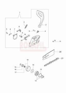 Hamulec, bęben sprzęgła, sprzęgło, zabezpieczenie, prowadnica, łańcuch, sprężyna, dźwignia hamulca- części- pilarki Oleo-Mac GS 410 CX - schemat - 2890529736