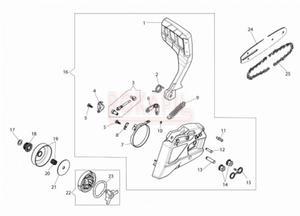 Hamulec, bęben sprzęgła, sprzęgło, zabezpieczenie, prowadnica, łańcuch, sprężyna, dźwignia hamulca- części- pilarki Oleo-Mac GS 371 - schemat - 2890529755