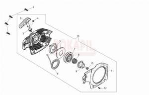 Rozrusznik, sprężyna, koło nawojowe, zębatka napędowa, kołnierz, uchwyt, śruba - części pilarki Oleo-Mac GS 451 - schemat - 2890529770