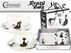 FILIŻANKI PORCELANOWE CARMANI ze spodkami - Crazy Cats - KOTY II - KOMPLET 2 Szt. - 2881760284