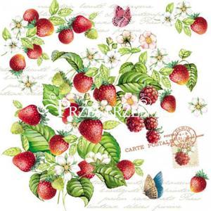 SERWETKI PAPIEROWE - Romantic Strawberries - Truskawki - 2850128364