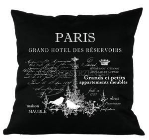 PODUSZKA OZDOBNA FRENCH HOME - PARIS CZERŃ - 2586460397