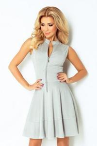 Numoco 123-6 sukienka z ekspresem z przodu i kieszonkami - jasny szary sukienki - 2855828922