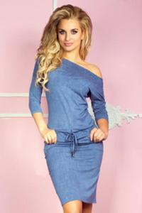 Numoco 13-20 sukienka sportowa - wiskoza - jeans jasny niebieski sukienki - 2855828942