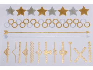 Gold Silver | Jewelry Flash Tattoo stickers W-078, 21x15cm - 2824064148