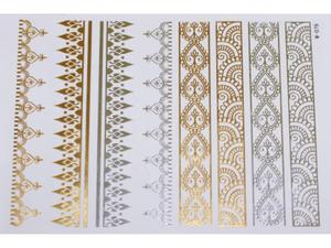 Gold Silver | Jewelry Flash Tattoo stickers W-079, 21x15cm - 2824064149