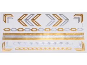 Gold Silver | Jewelry Flash Tattoo stickers W-080, 21x11cm - 2824064150