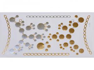 Gold Silver | Jewelry Flash Tattoo stickers W-082, 21x11cm - 2824064152
