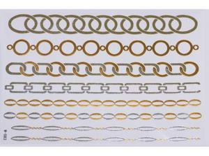 Gold Silver | Jewelry Flash Tattoo stickers W-083, 21x15cm - 2824064153