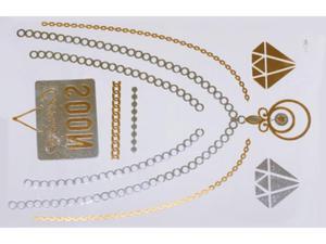 Gold Silver | Jewelry Flash Tattoo stickers W-084, 21x15cm - 2824064154
