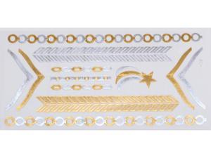 Gold Silver | Jewelry Flash Tattoo stickers W-085, 21x11cm - 2824064155