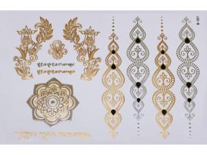 Gold Silver Black | Jewelry Flash Tattoo stickers W-091, 21x15cm - 2824064161