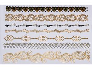 Gold Silver Black | Jewelry Flash Tattoo stickers W-092, 21x15cm - 2824064162