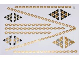 Gold Silver Black | Jewelry Flash Tattoo stickers W-094, 21x15cm - 2824064164