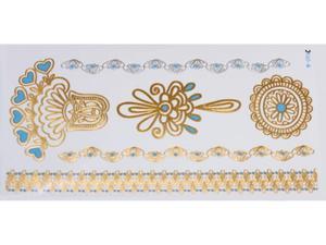 Gold Silver Blue | Jewelry Flash Tattoo stickers W-096C, 21x11cm - 2824064167