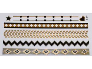Gold Silver Black | Jewelry Flash Tattoo stickers W-097, 21x11cm - 2824064168
