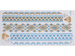 Gold Silver Blue | Jewelry Flash Tattoo stickers W-101C, 21x11cm - 2824064177