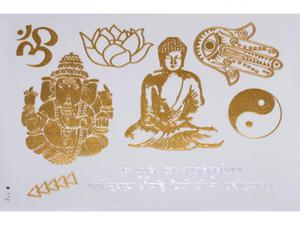 Gold Silver | Jewelry Flash Tattoo stickers W-112, 21x15cm - 2824064194