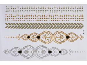 Gold Silver Black | Jewelry Flash Tattoo stickers W-115, 21x15cm - 2824064197
